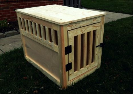 DIY Wooden Dog Crate That doubles as an end table Dog crate