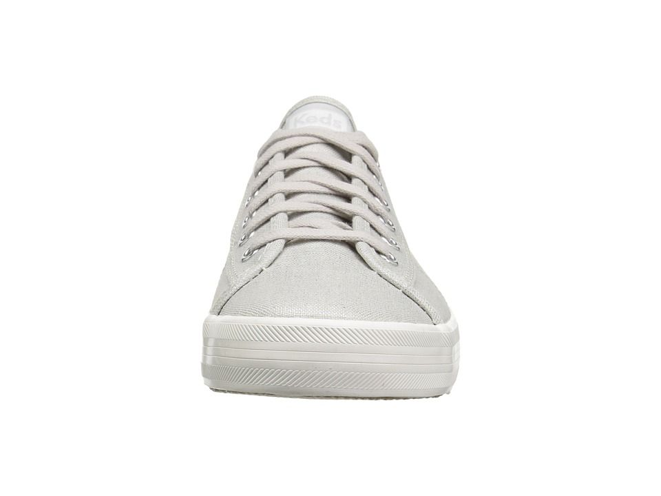 24205a5a55c Keds Kickstart Metallic Linen Women s Lace up casual Shoes Silver ...