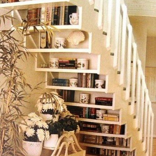 smart and simple under stair storage ideas in small home space for saving books with chic cream home interior also beautiful small table sets feat cool flower vase decoration