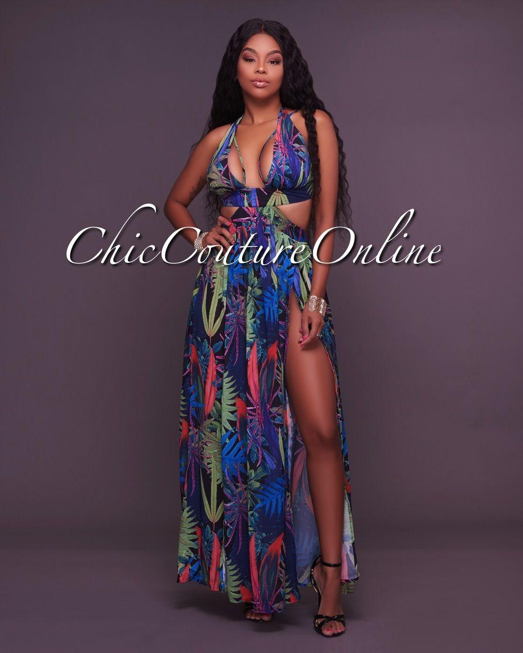 Milena Black Tropical Print Cover Up Maxi Dress