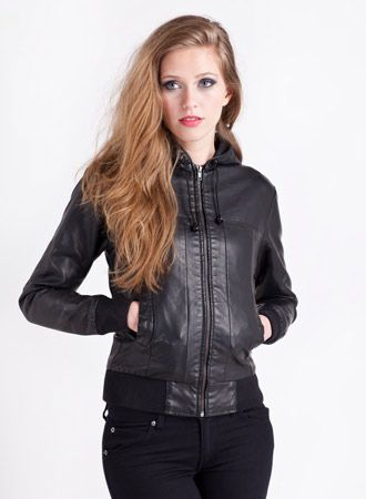 Hooded Faux Leather Bomber Jacket Black | Wants | Pinterest