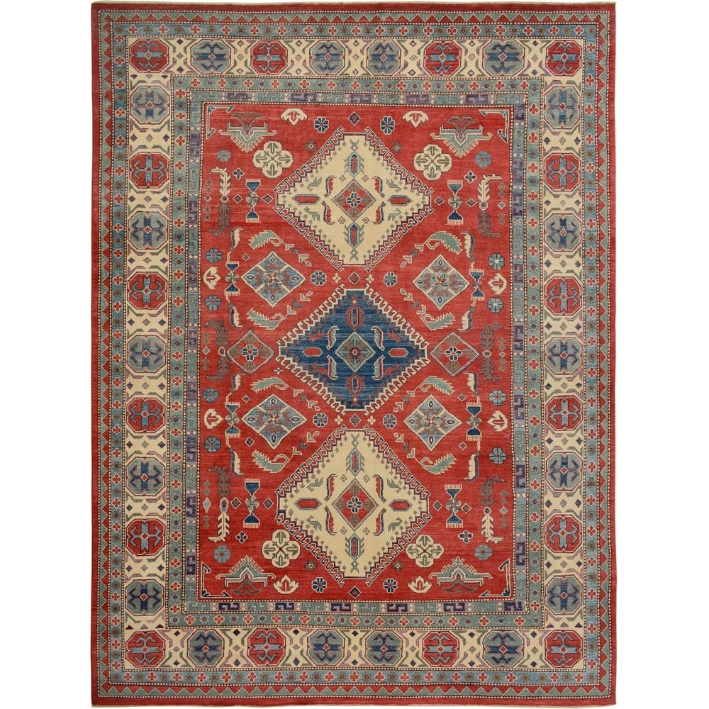 Geometric Red Super Kazak Oriental Area Rug Hand Knotted Carpet 8 11 X 11 10 8 11 X 11 10 Red In 2020 Colorful Rugs Area Rugs Washable Rugs