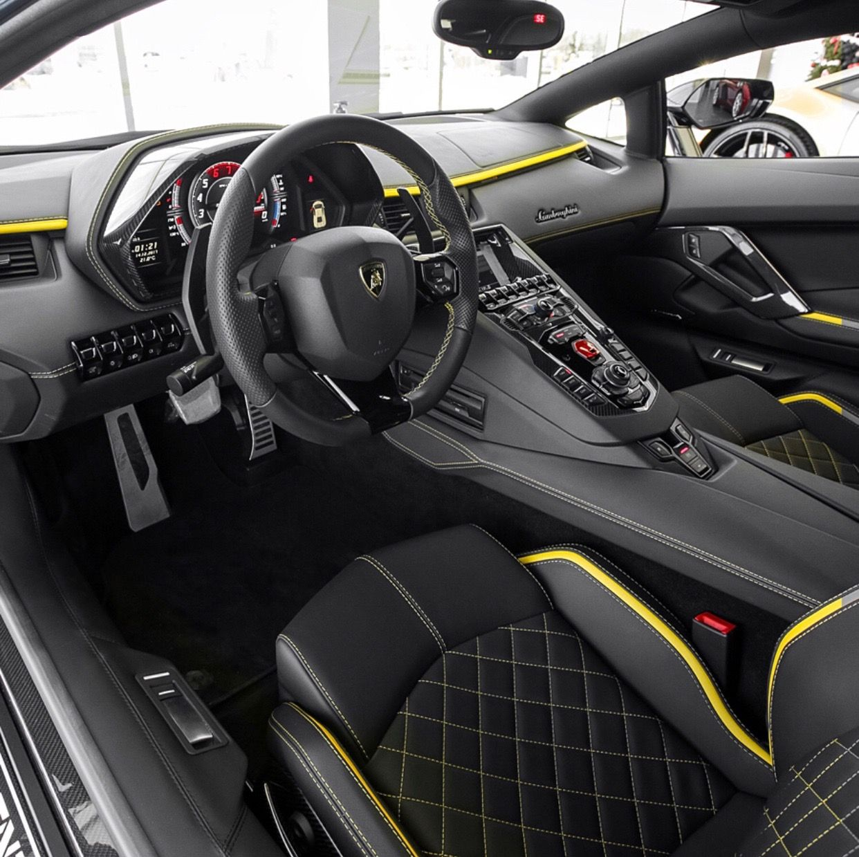 Interior Of The Lamborghini Aventador S Painted In Blu