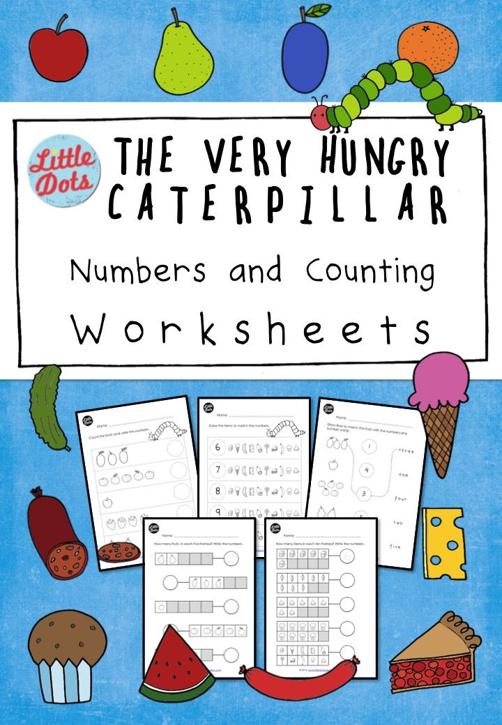 Printable Worksheets 1 to 1 correspondence worksheets : The Very Hungry Caterpillar Numbers and Counting Worksheets Set ...