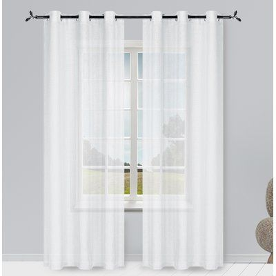 Alcott Hill Hoyt Solid Semi Sheer Grommet Curtain Panels Curtain