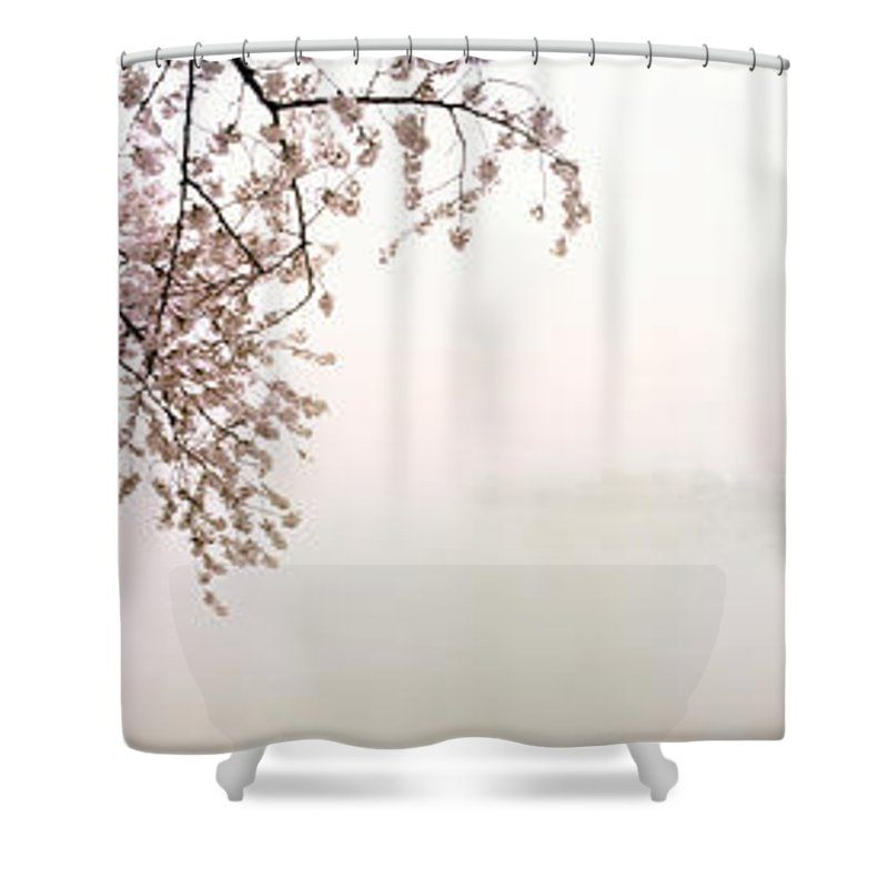 Photography Shower Curtain featuring the photograph Cherry Blossoms At The Lakeside by Panoramic Images