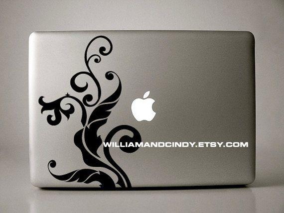 April Floral - macbook decal mac sticker air pro decal. $9.99, via Etsy.