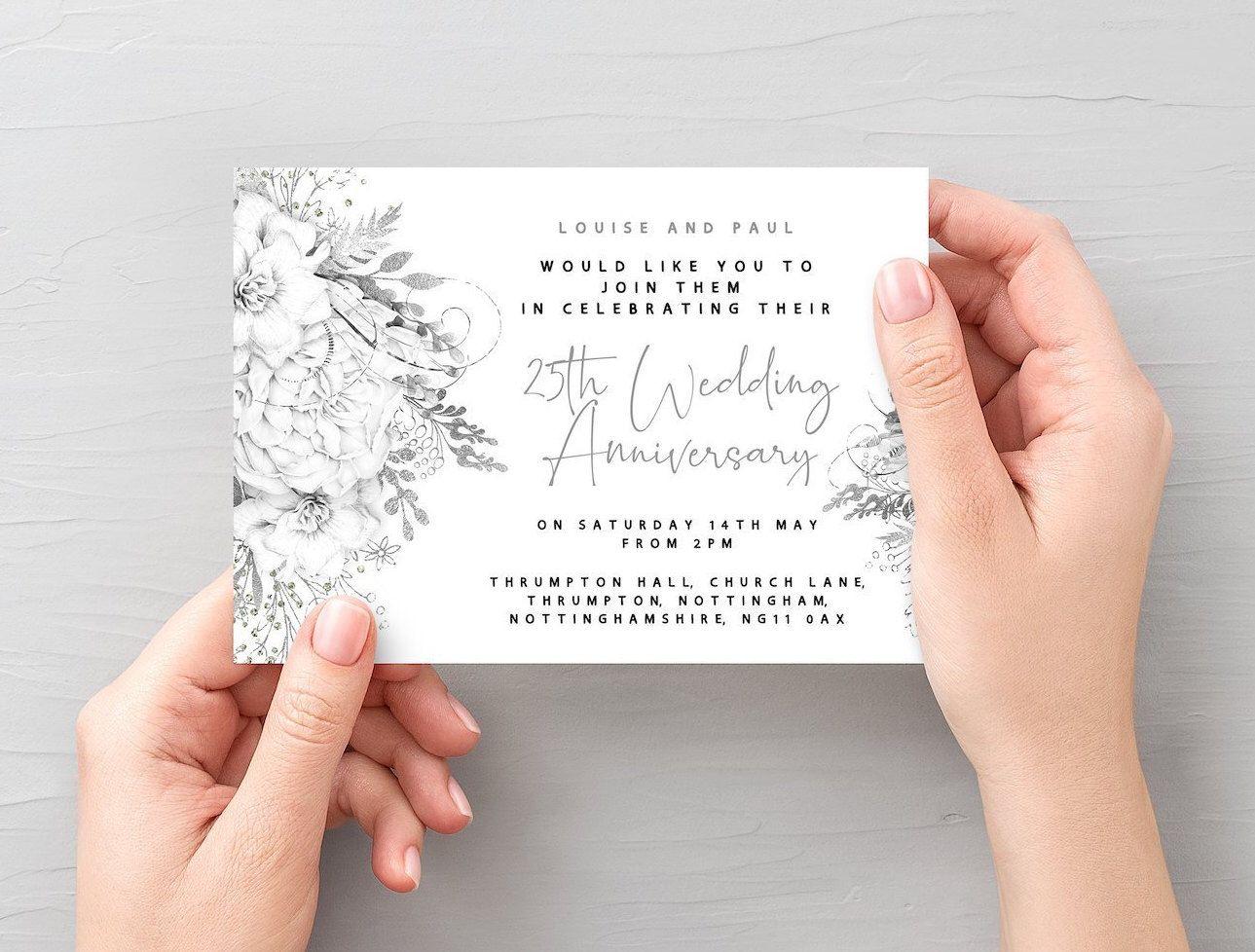 25th wedding anniversary invitation silver wedding invite
