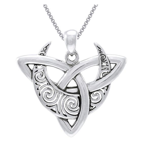 Online Shopping  Bedding, Furniture, Electronics, Jewelry, Clothing & more is part of Celtic necklace, Jewelry trends, Sterling silver pendants, Sterling silver necklace pendants, Sterling silver necklaces, Jewelry - This  925 sterling silver pendant showcases a crescent moon with Celtic spiral designs entwined with a Celtic Trinity knot  This fascinating pendant is strung on an 18inch sterling silver box chain that secures with a spring ring clasp