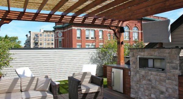 Chicago Roof Deck Cedar Pergola Stone Fireplace Sunbright Tv