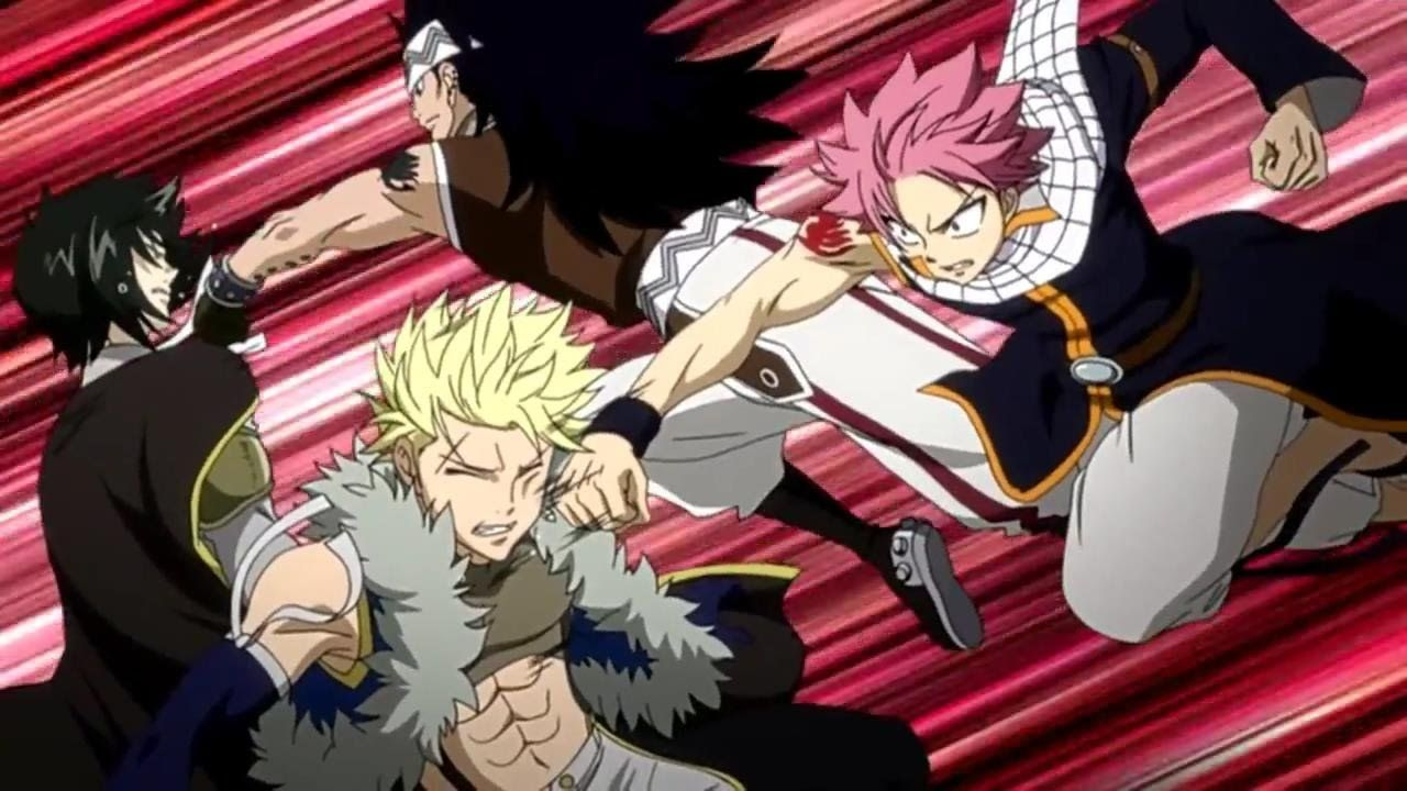 Natsu and Gajeel vs Sting and Rogue Full Fight eng dub