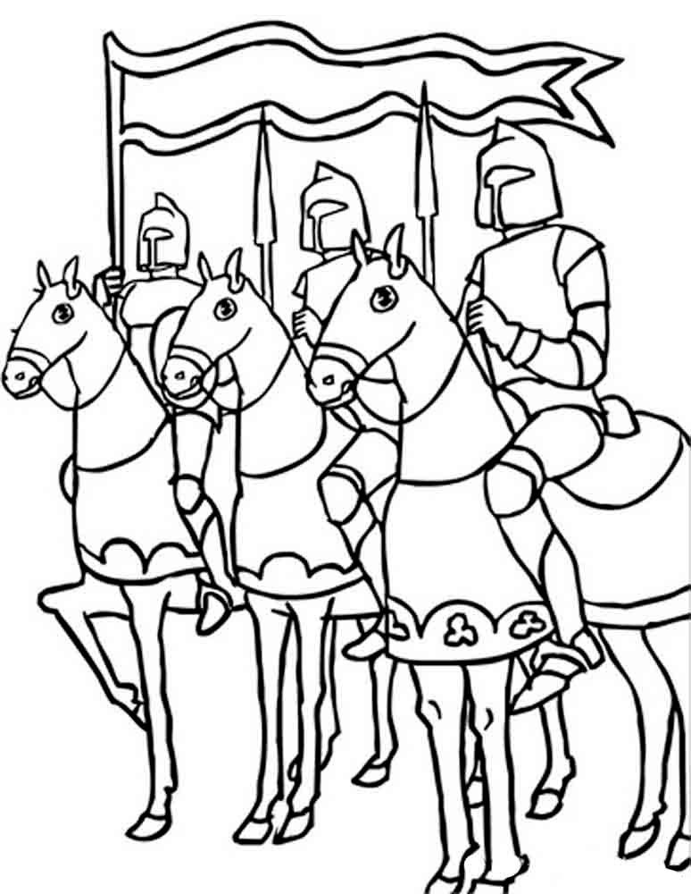 Three Knights Coloring Page Coloring Pages Knight On Horse