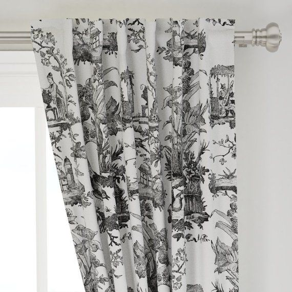 Chinoiserie Curtain Panel Vintage Toile