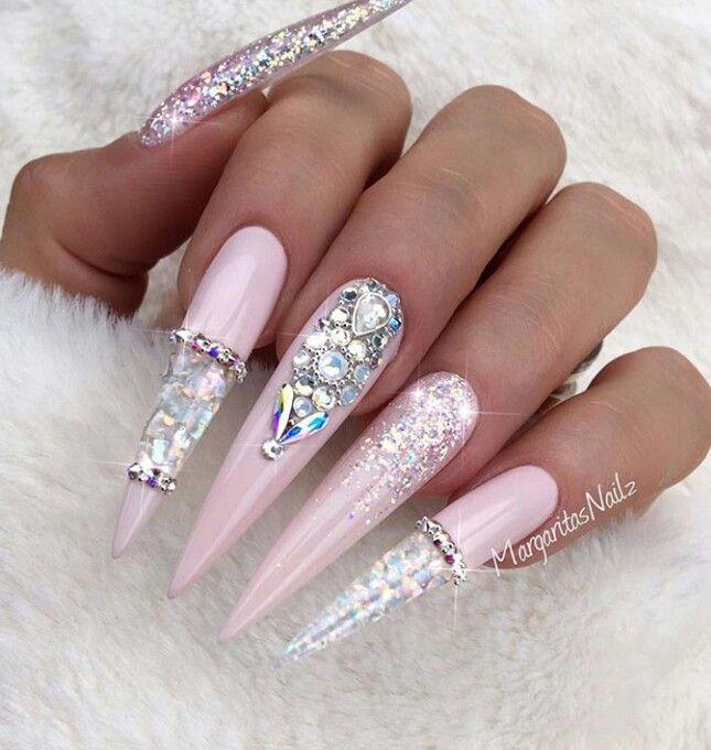 Pink princess nails   boss nails   Nails, Pink stiletto nails ...