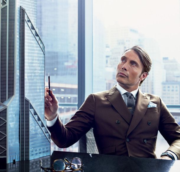 Great look by one of our favourite actors Mads Mikkelsen featuring a grey knit tie