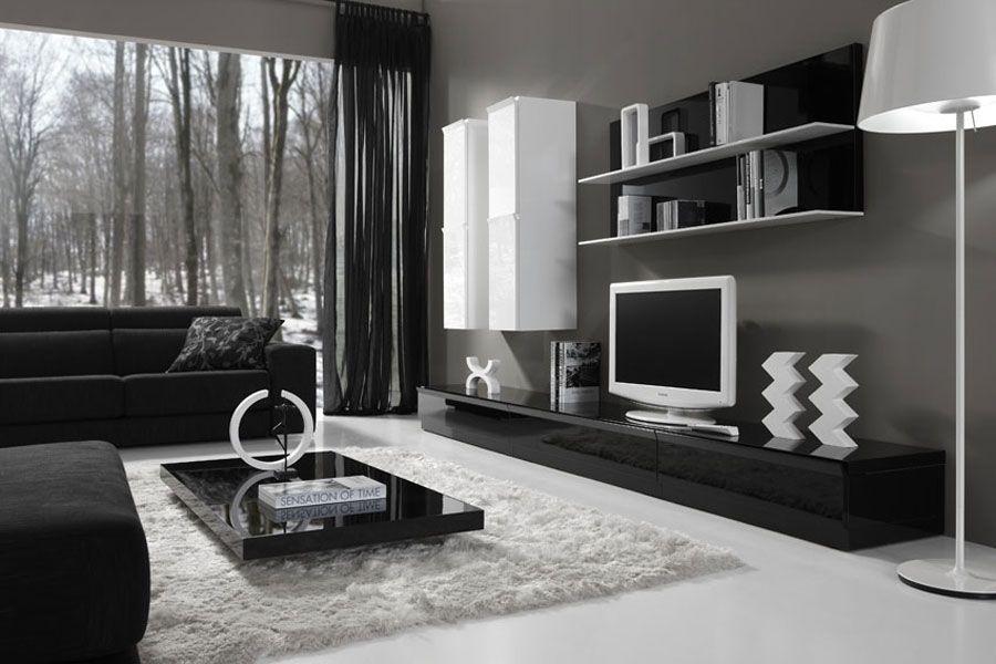 mueble-salón-blanco-negro | Salones | Pinterest | Salón blanco ...