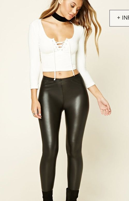 d83e778a13a Leather pants and tight crop top long sleeve with ties