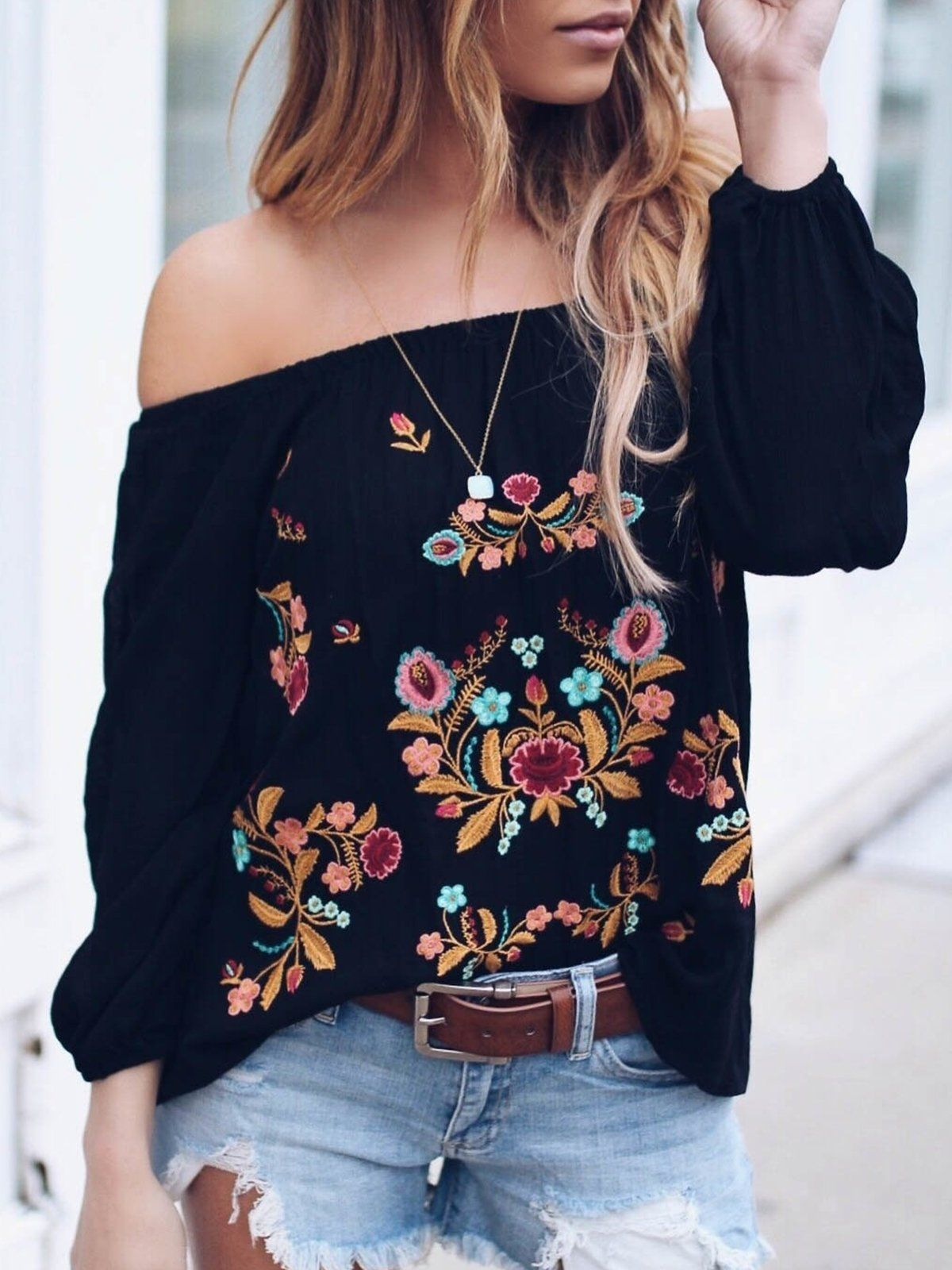 e6ae1fc3905 Sweet Long Sleeve Sheath Floral Blouse in 2019 | Tops | Blouse ...