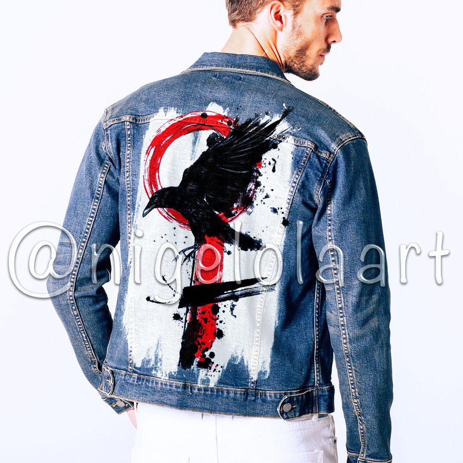 Hand Painted Jacket Black Raven Jean Jacket Art Jacket Painted Etsy Diy Denim Jacket Painted Jacket Painted Denim Jacket [ 1588 x 1588 Pixel ]