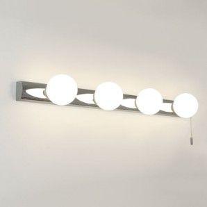 Bathroom Lighting Globes cabaret bathroom wall light, 4 globe lights on a chrome base with