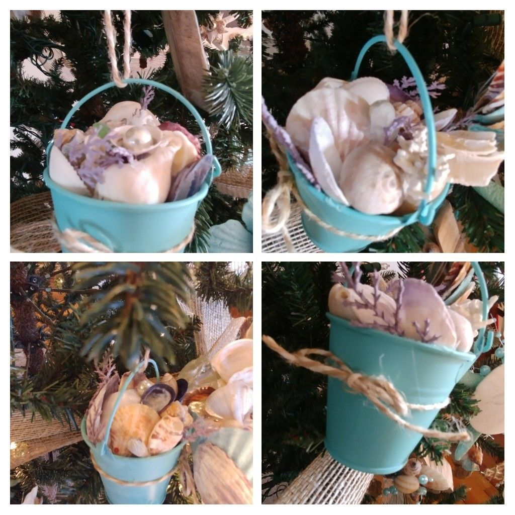 Photo of Ornamenti del secchio della spiaggia Decorazione della spiaggia di Natale costiera Conchiglie viola turchesi