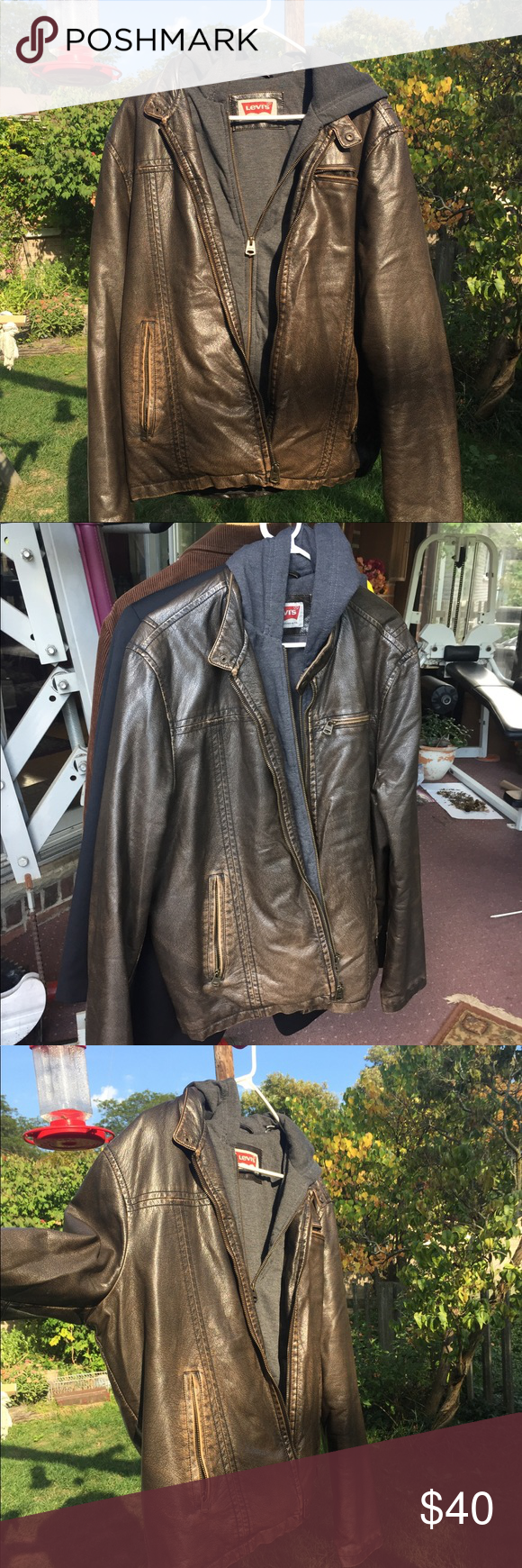 Levi S Leather Jacket With Hoodie Levi S Two Tone Brown Leather Jacket With A Sweatshirt Hoodie Attacked Inside Two Jackets Brown Leather Jacket Hoodie Jacket [ 1740 x 580 Pixel ]