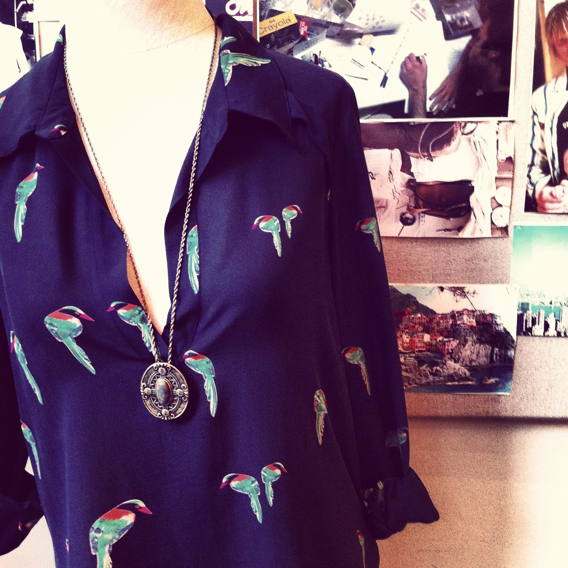 bird printed blouse