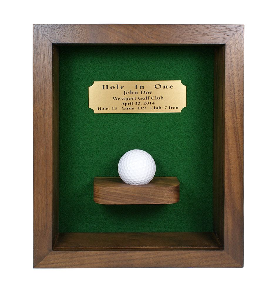 Hole In One Shadow Box With Ball Shelf Greatgolfmemories Com Golf Room Golf Decor Golf Theme Party