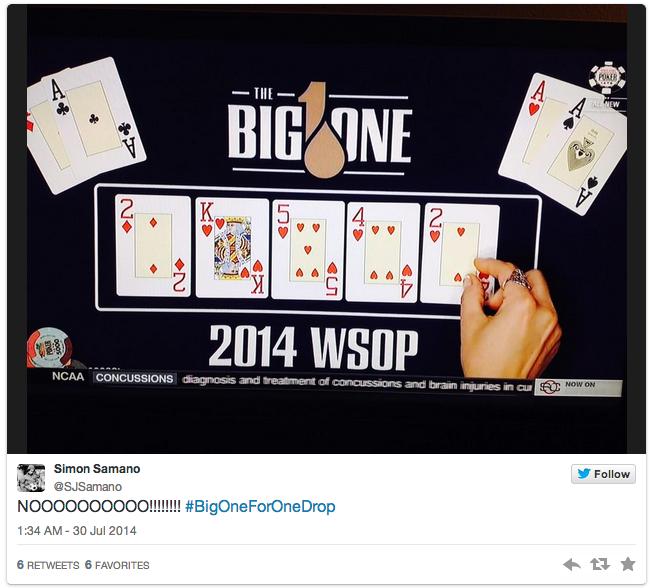 Poker player eliminated from WSOP 1 million buyin