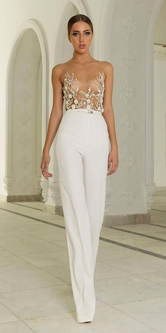 Trend 2018: 24 Wedding Pantsuit & Jumpsuit Ideas   Bridal outfits ...