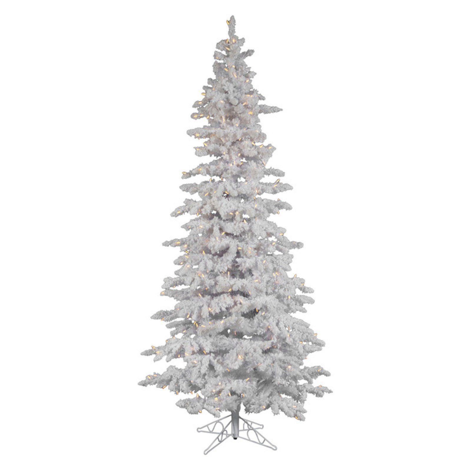 12 Ft Flocked Christmas Tree: Warm White Flocked White Slim Pre-lit LED Christmas