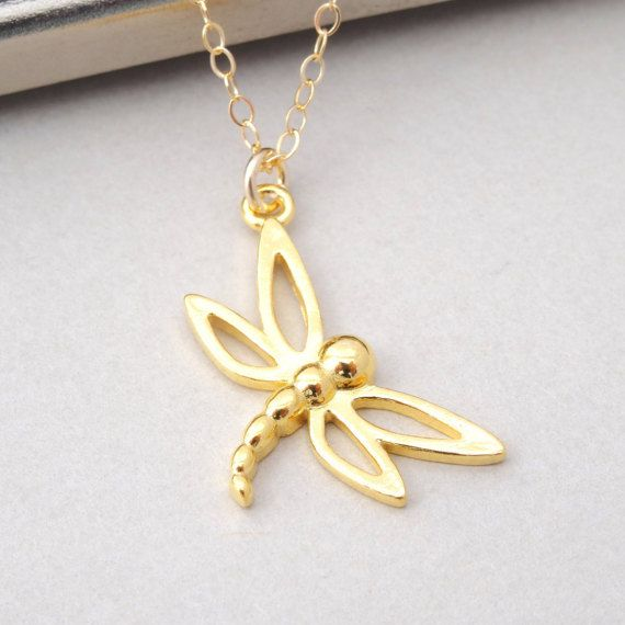 Dragonfly Necklace Gold Dragonfly Charm Necklace by BeautifulAsYou