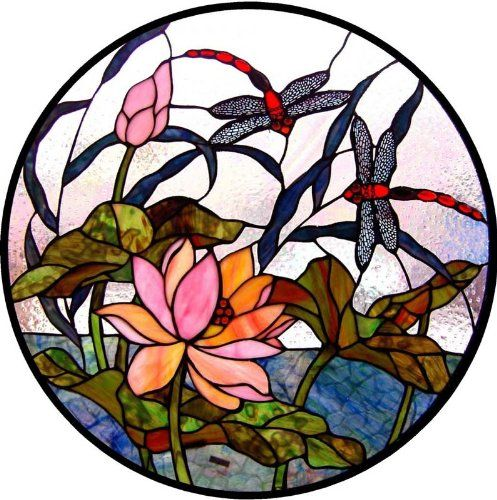 Dragonflies With Lotus Waterlilies In A Pond Vinyl Stained Glass Film Static Cling Window Decal Window Art In V Glass Art Sculpture Window Art Stained Glass