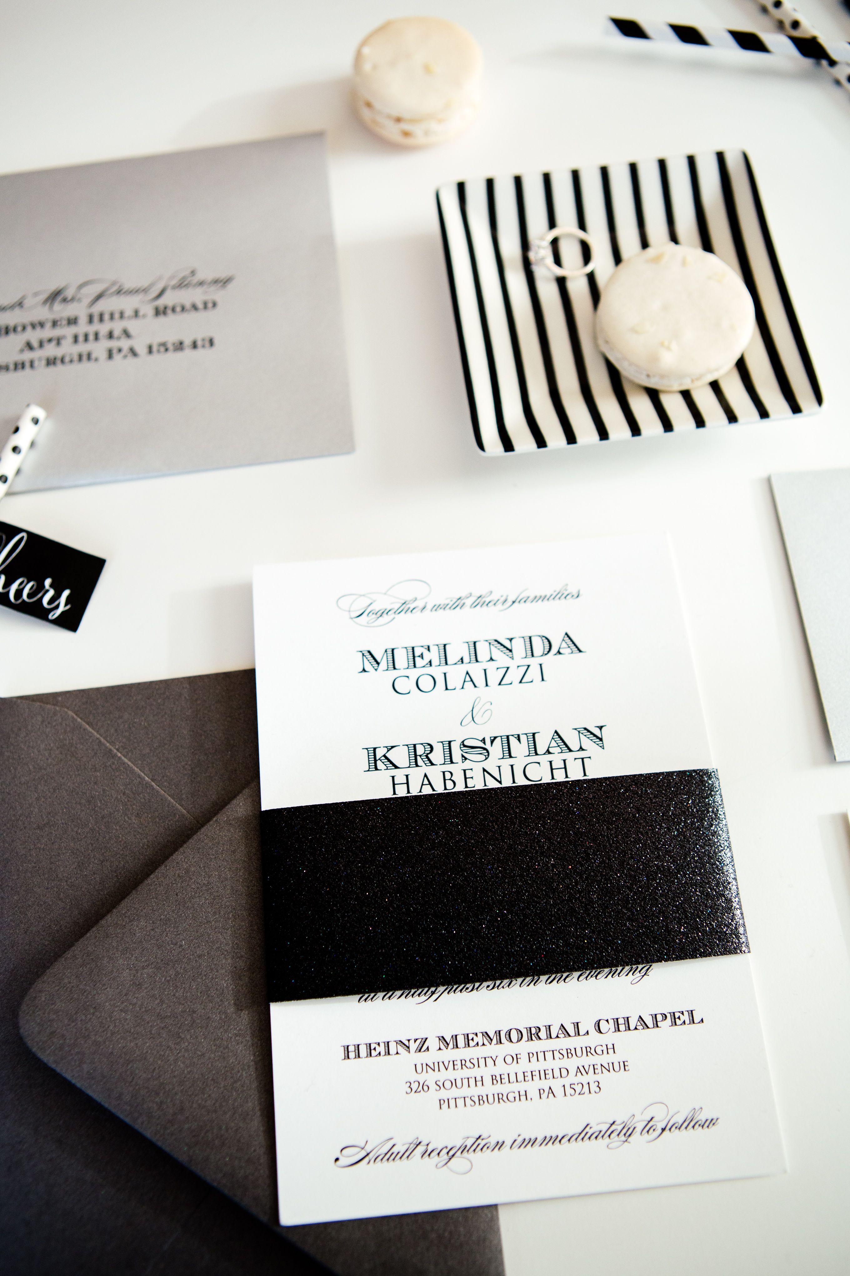 Modern minimalist black & white wedding invitations with glitter ...
