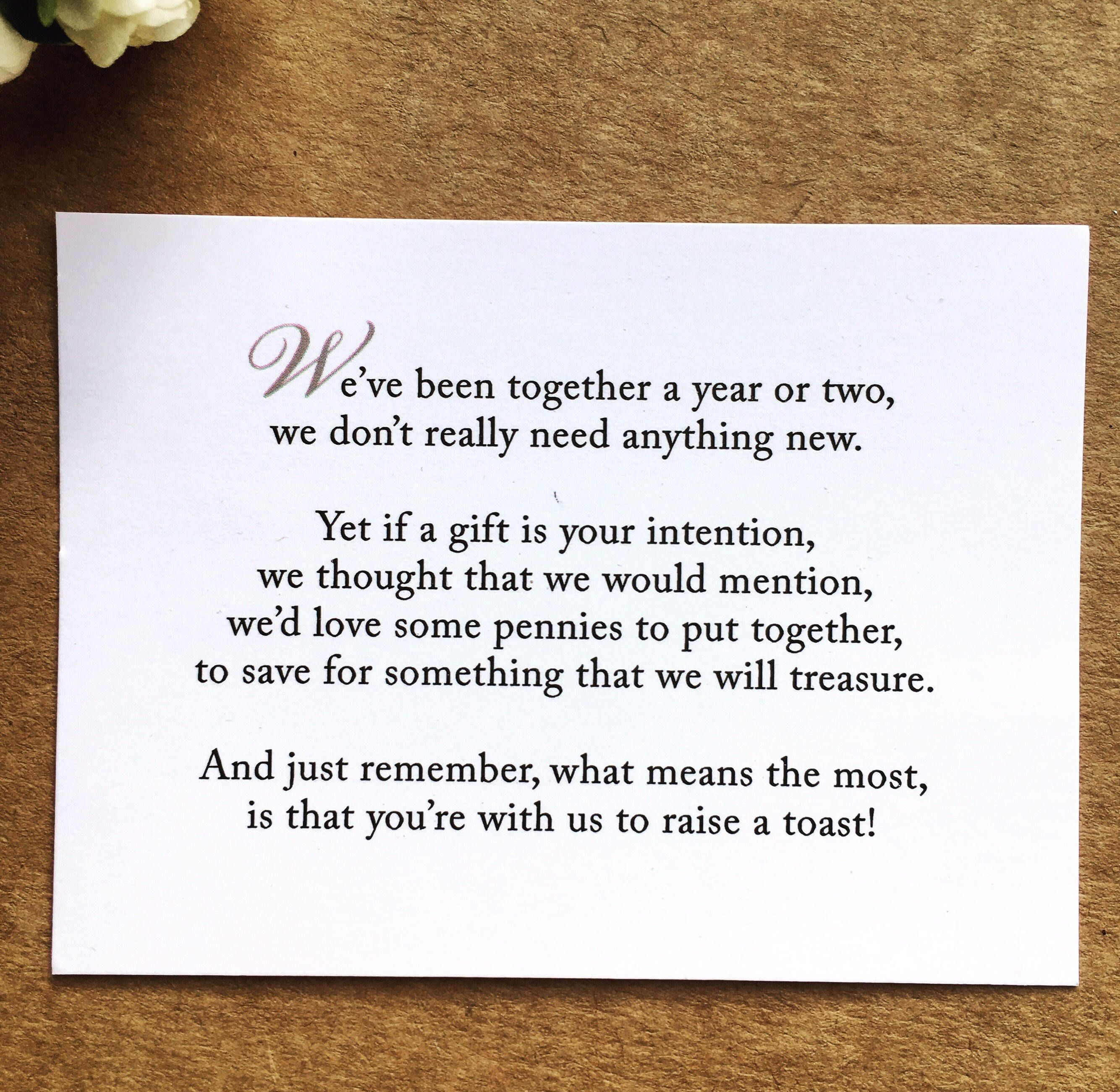 Wedding Invitation Poem For Money Honeymoon Poem Card Gift