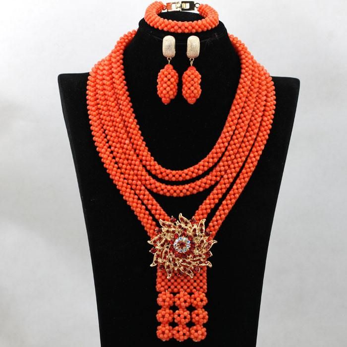 2017 Luxury Full Costume Coral Beads Wedding Jewelry Sets Wedding