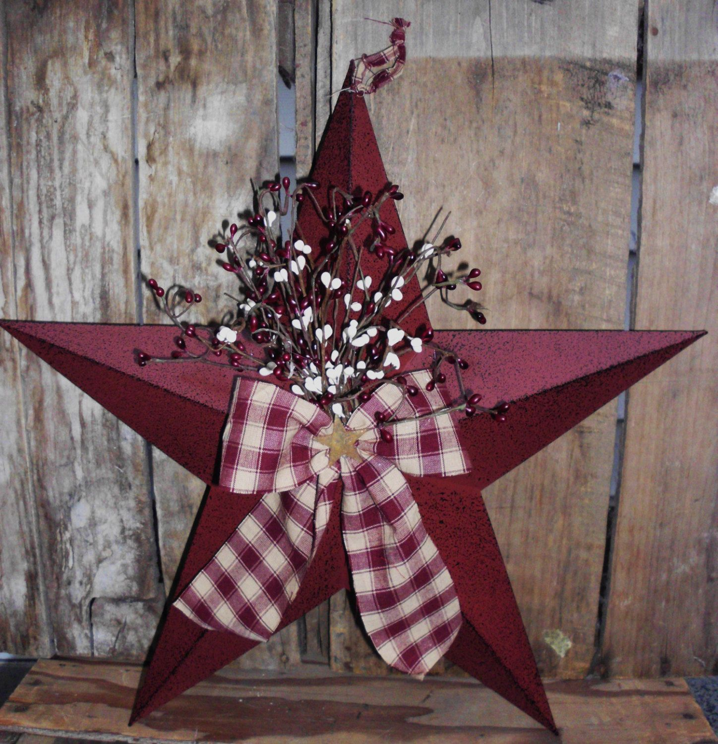 Star Decorations For Home: Primitive 18 Burgandy Barn Star With Pip By
