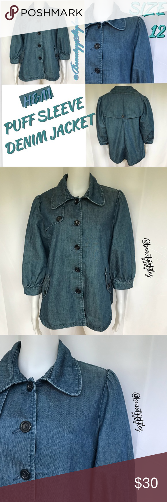 03ac183534 H&M Blue Denim Puff 3/4 Sleeve Jacket Size 12 WORN ONCE‼ H&M ...