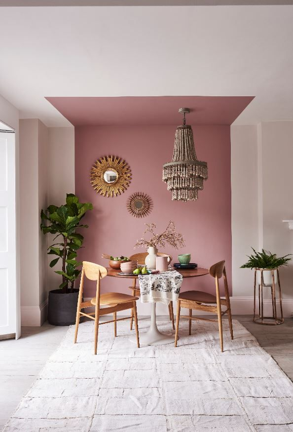 This Room Is Powerful Because It Is So Neutral With Very Little Color Besides The Large Stripe Of Pink In The Paint In 2020 Living Room Colors Decor Dining Room Design