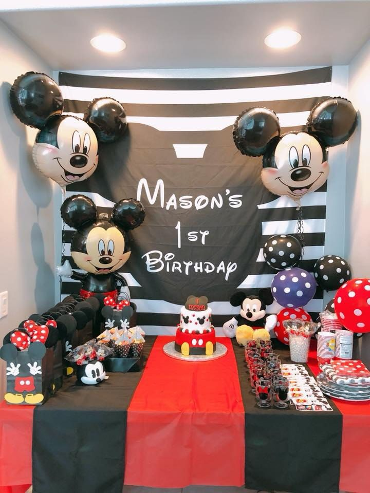 Mickey Mouse Backdrop for Parties | Mickey Photo Backdrop #mickeymousebirthdaypartyideas1st