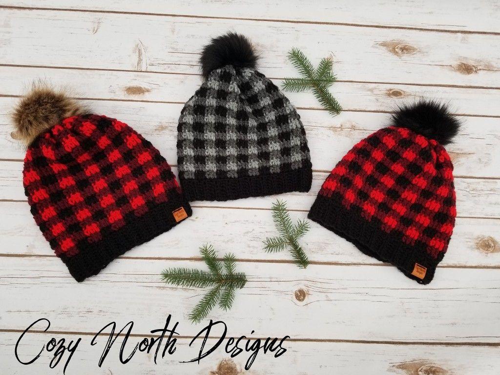 Gray Handmade crochet Buffalo Plaid hat Pink and Black Child/'s size