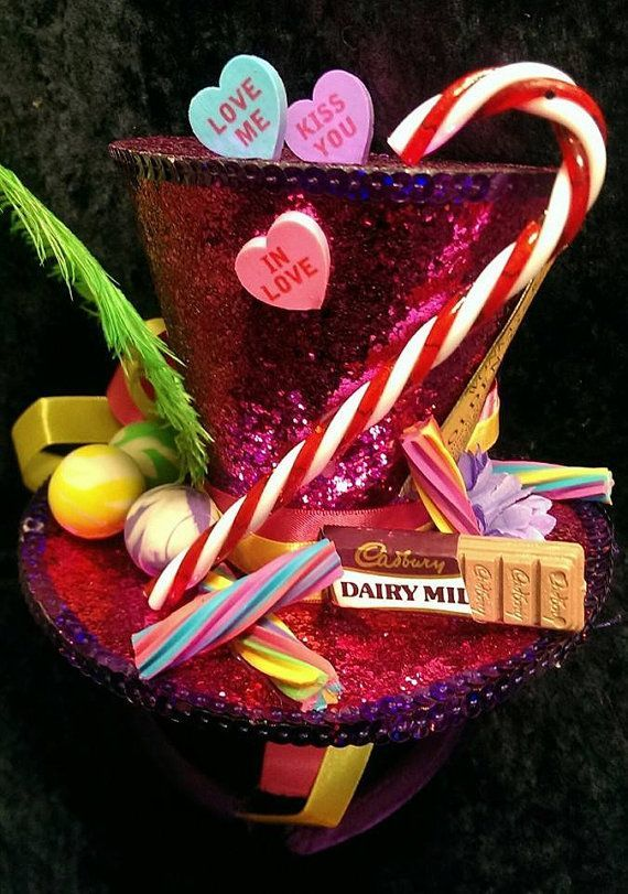 Willy Wonka Bespke Mini Top Hat Wonka's Golden Ticket Chocolate Factory Candy Cane Sweets Gob Stoppers Tea Party Wedding Ascot Cosplay