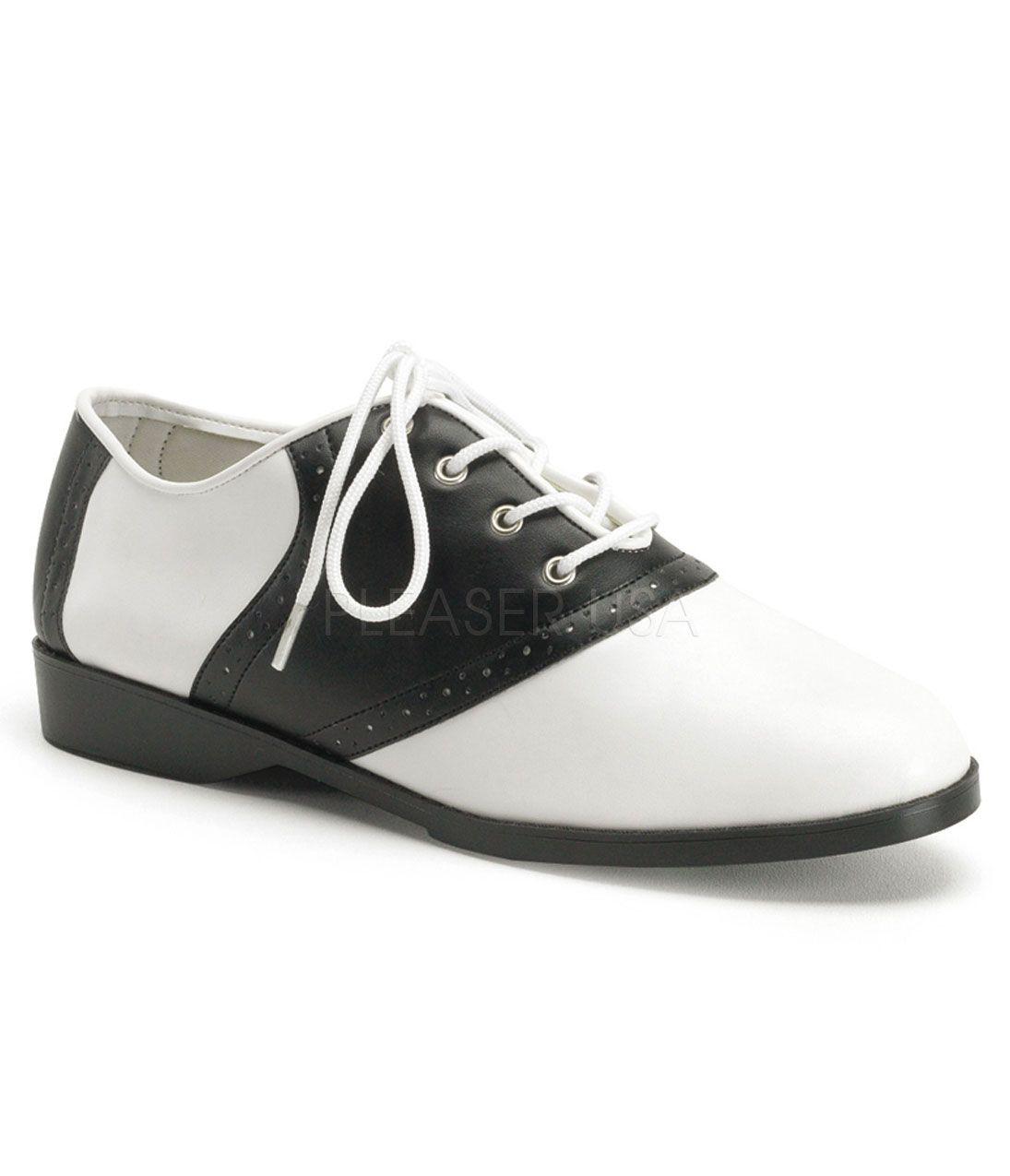 cd6cd54efca8c1 Retro Saddle Shoes  Black   White