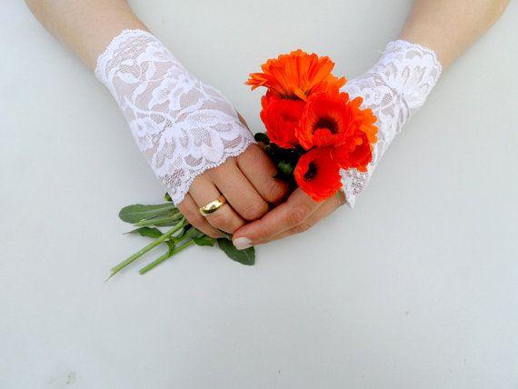 ivory wedding glove lace glove bridal accessories Free by geranum, $19.00