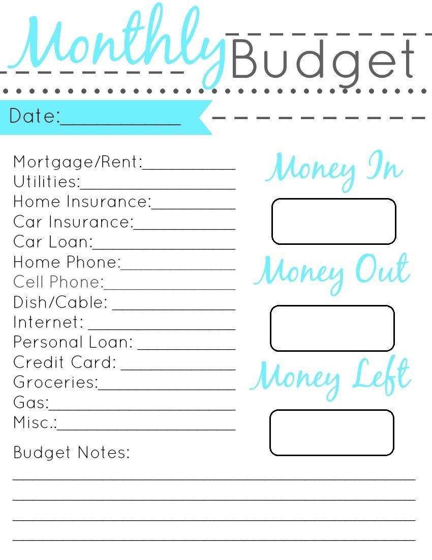 home budget sheets free