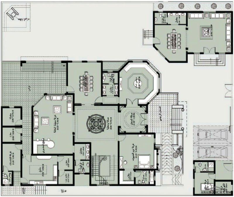 Moroccan Interior design ARABIC VILLA (Pencil on trace   Photoshop