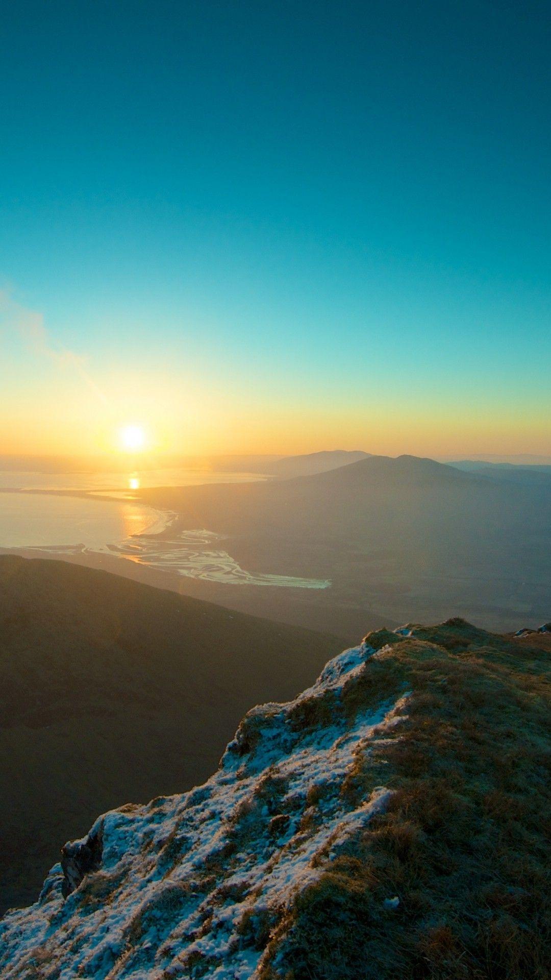 mountains sky sunset peaks iphone 6 plus wallpaper - sun, river
