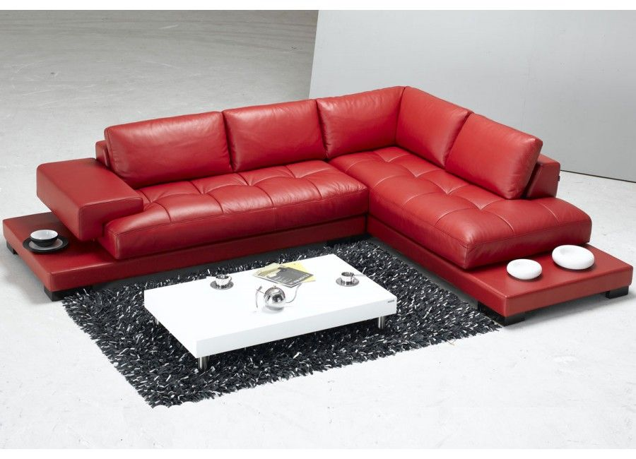 European Style Red Leather Sectional Sofa
