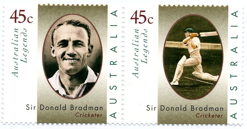 Cricket legend Donald Bradman in his heyday celebrated by Australia Post.