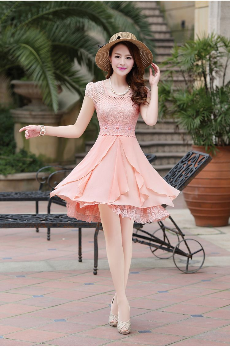 Short Sleeve, Summer, Chiffon, Lace, Layered Elegant Dress, YRB2144 ...